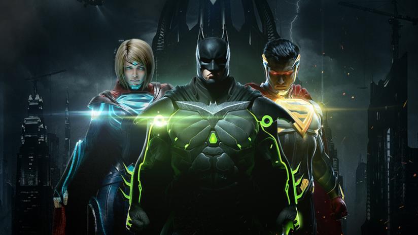 Batman, Supergirl e Superman sulla copertina di Injustice 2