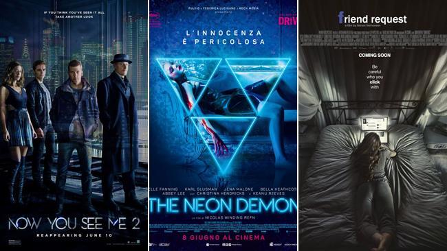 Le locandine dei film Now You See Me 2 - I Maghi del Crimine, The Neon Demon e Friend Request