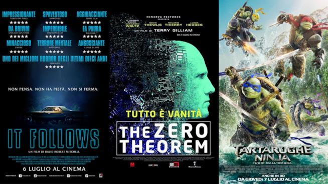 I poster di It Folllows, The Zero Theorem e Tartarughe Ninja - Fuori dall'Ombra