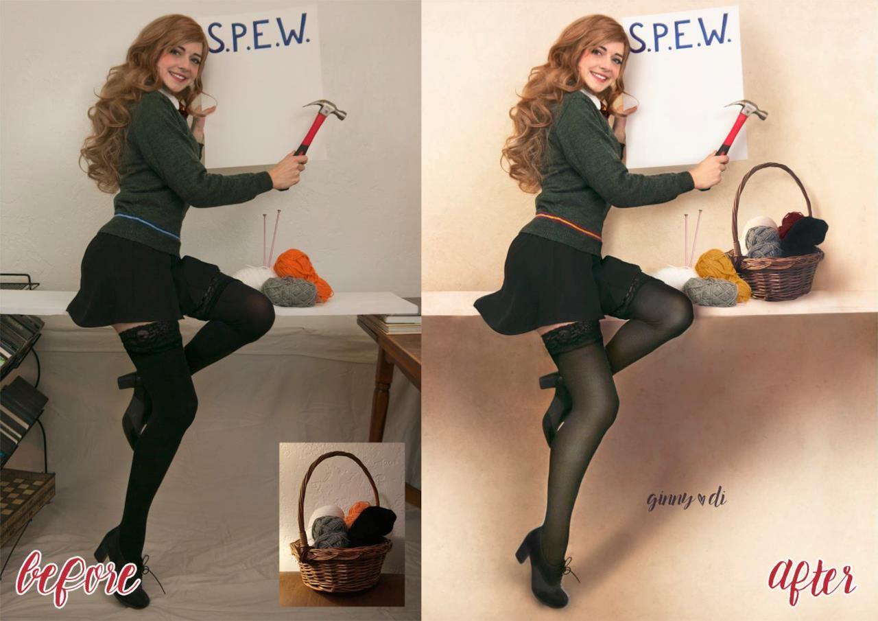 Prima e dopo: il cosplay pin-up di Hermione passa al Photoshop