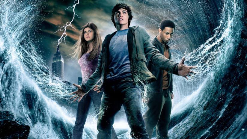 Logan Lerman, Alexandra Daddario e Brandon T. Jackson in un poster di Percy Jackson