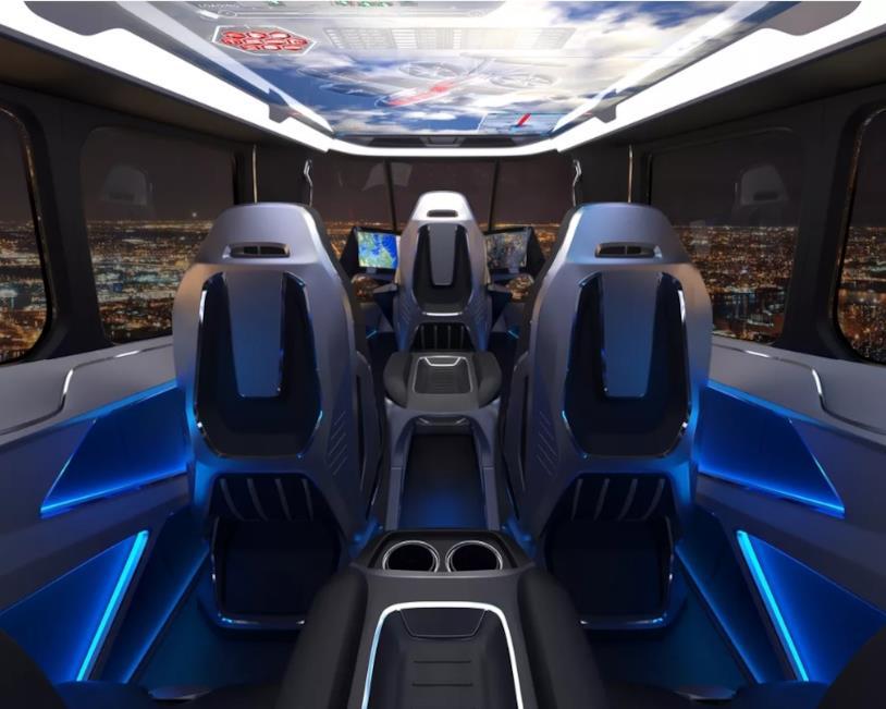 Sedili e cabina interna del taxi volante presentato al CES 2019