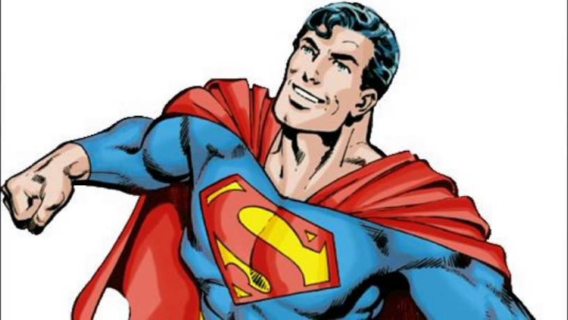 Mazzobusto disegnato di Superman che si libra in cielo