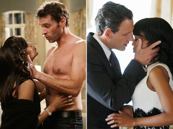 Due baci della serie Scandal tra la protagonista e i suoi due amori