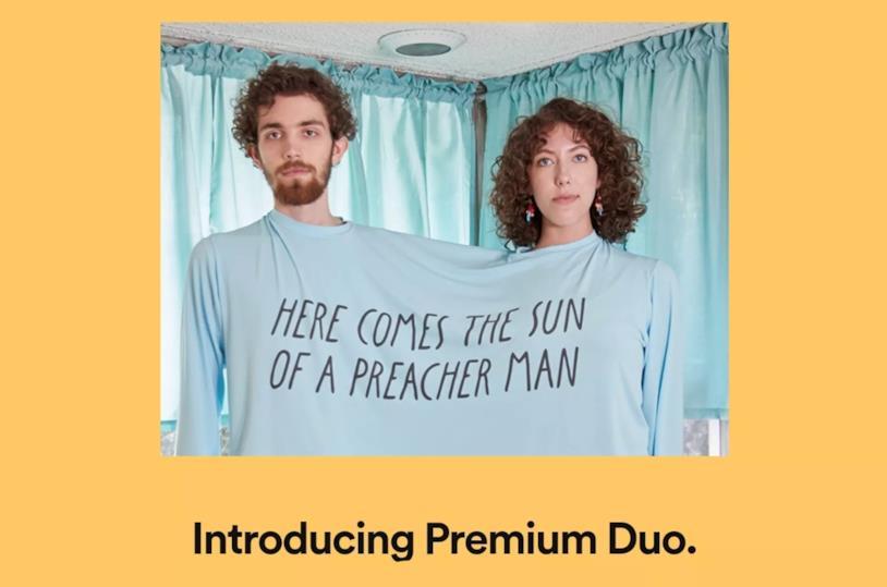 Immagine promozionale per il lancio di Premium Duo di Spotify