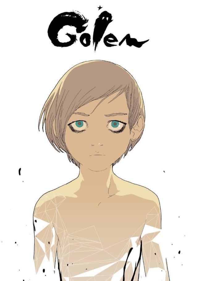 Sulla copertina di Golem campeggia il protagonista della storia, un ragazzino dallo sguardo intenso