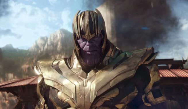 Un primo piano di Thanos in Avengers: Infinity War