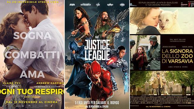 I poster di Ogni Tuo Respiro, Justice League e La Signora dello Zoo di Varsavia