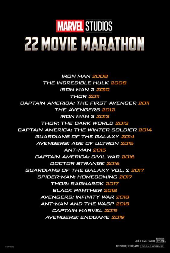 I 22 titoli dei film che saranno proiettati nella maratona Marvel Studios nei cinema americani AMC