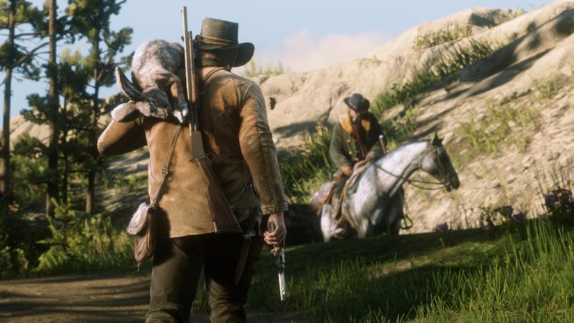 Arthur Morgan a caccia in Red Dead Redemption 2