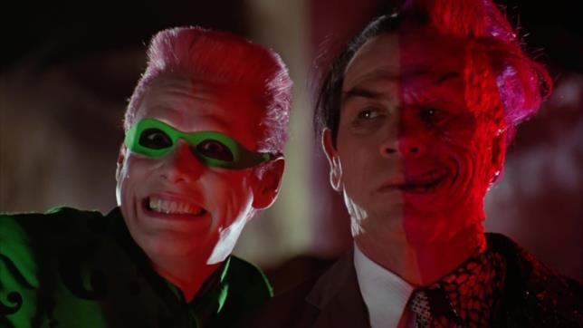 Primi piani di Jim Carrey e Tommy Lee-Jones
