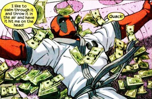 Deadpool nuota nel denaro in una scena dei fumetti