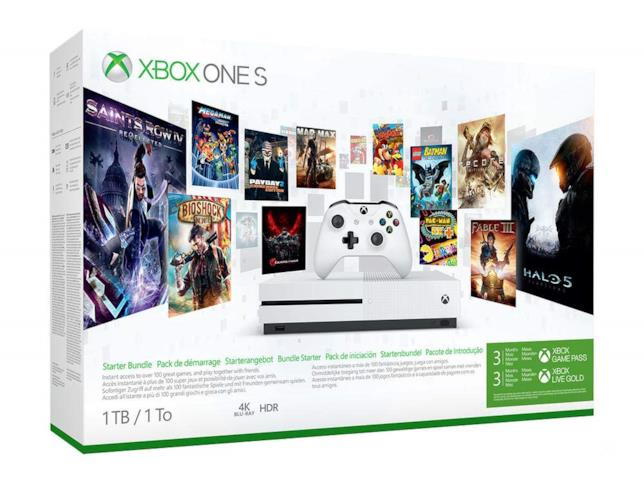 Immagine stampa del bundle Xbox One S + 3 mesi Gamepass + 3 mesi Xbox Live Gold