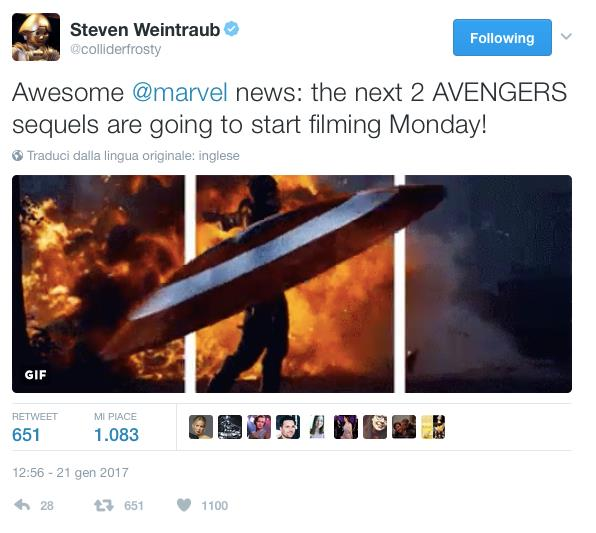 Steven Weintraub annuncia l'inizio delle riprese di Avengers: Infinity War