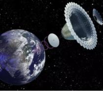 Una serie di pannelli solari a forma sferica sospesi nello spazio