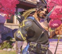 Primo piano di Hanzo, eroe di Overwatch
