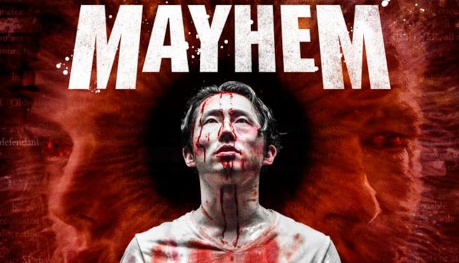Steven Yeun nella locandina di Mayhem, il suo horror