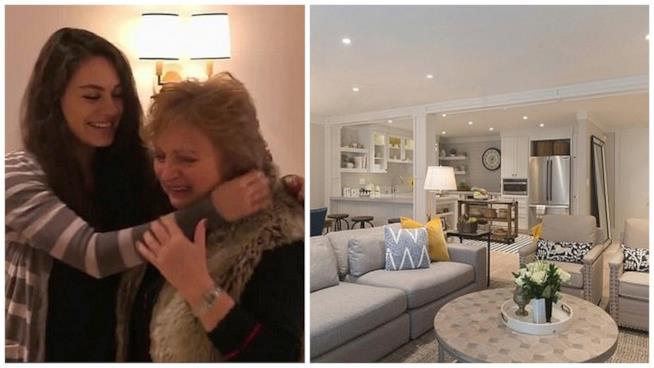 Alcune immagini della sorpresa di Mila Kunis ai genitori