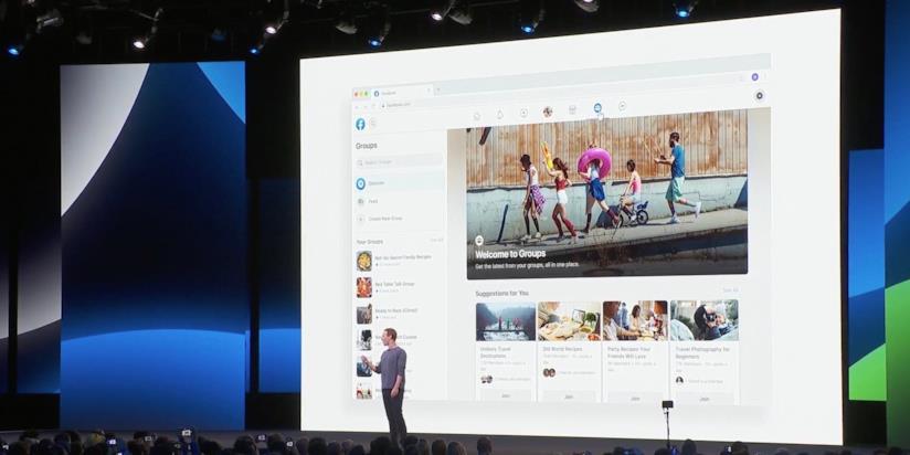 Mark Zuckerberg sul palco della F8 2019