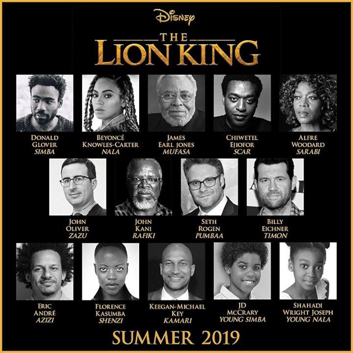 Gli attori che prestano la voce ai personaggi de Il re leone nella versione originale