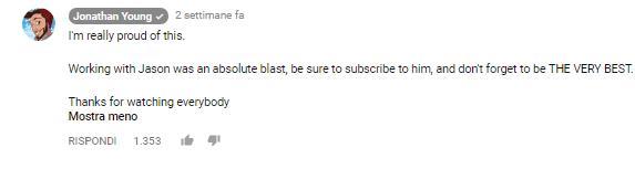 Un commento di Jonathan Young al video, da lui pubblicato su YouTube, della rivisitazione in chiave metal della sigla della serie Pokémon