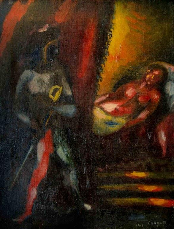 """Un primo piano dell'opera di Marc Chagall """"Otello e Desdemona"""""""
