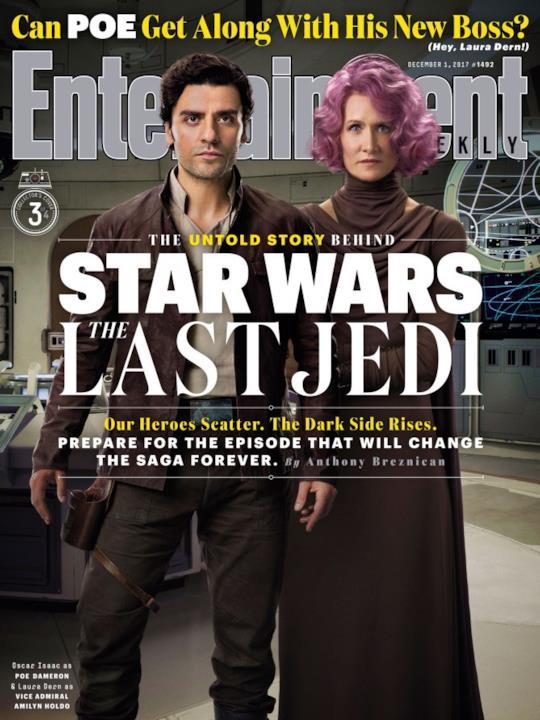 Poe Dameron e Amilyn Holdo insieme sulla copertina di EW