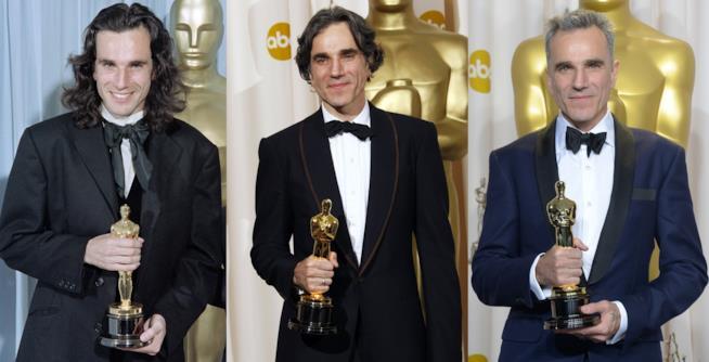 I tre Oscar di Daniel Day Lewis: Il mio piede sinistro (1990), Il petroliere (2008) e Lincoln (2013)