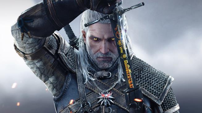 Un primo piano di Geralt di Rivia dai videogame di The Witcher