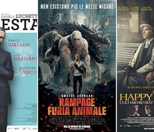 I poster dei film Io sono tempesta, Rampage - Furia animale, The Happy Prince