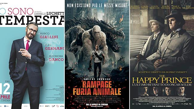 I poster dei film Io sono tempesta, Rampage - Furia animale, The Happy Prince