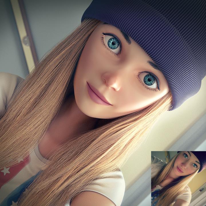 Una ragazza dai capelli biondi e occhi azzurri in primo piano formato Pixar