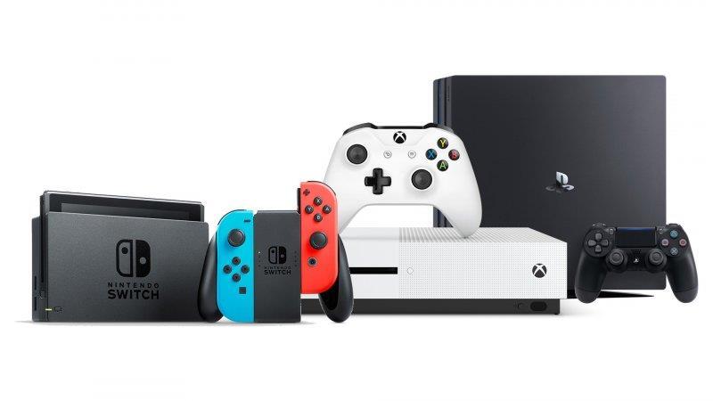 Nintendo Switch, Microsoft Xbox One S e Sony Play Station 4