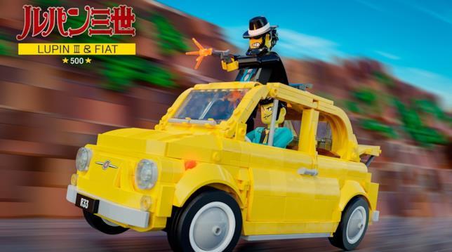 Dettagli del set  LEGO Fiat 500 F con le Minifigure di Lupin e Jigen