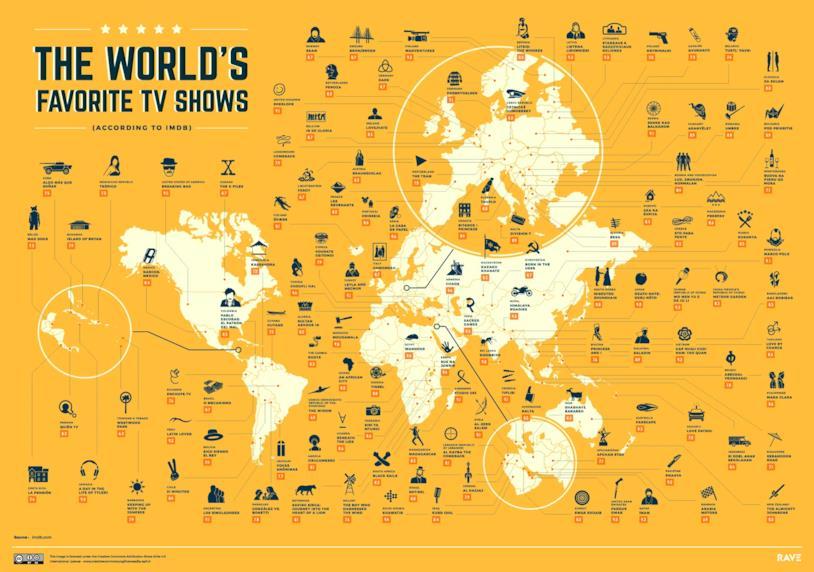 La mappa delle serie TV più amate nel mondo stilata da Rave Reviews