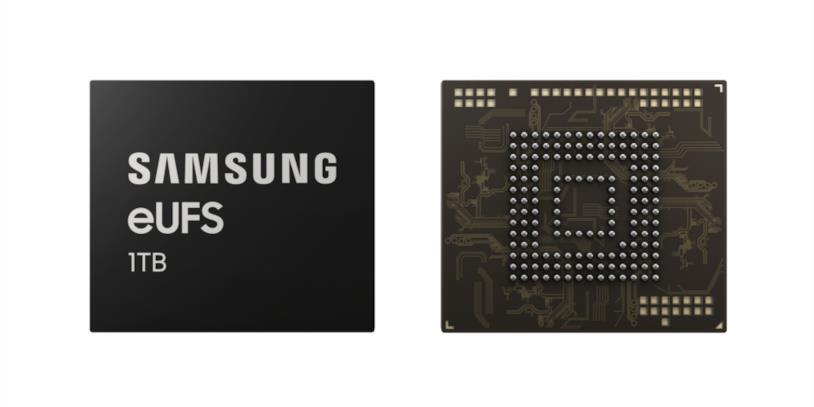 Immagine stampa del chip eUFS 2.1 da 1TB di Samsung