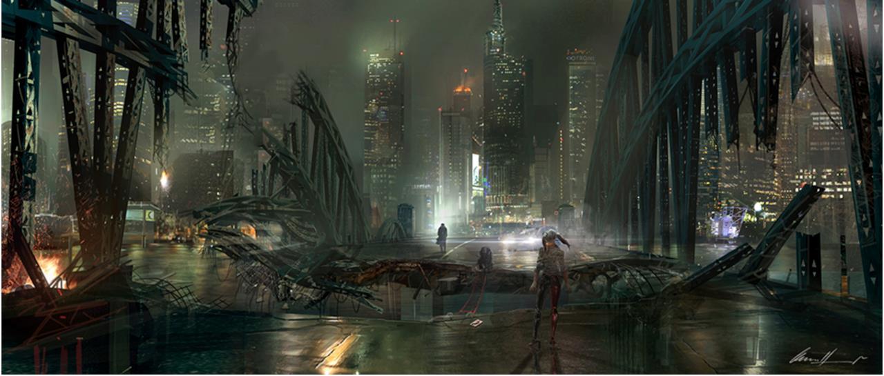 Joker e Harley Quinn si guardano in distanza in una concept art