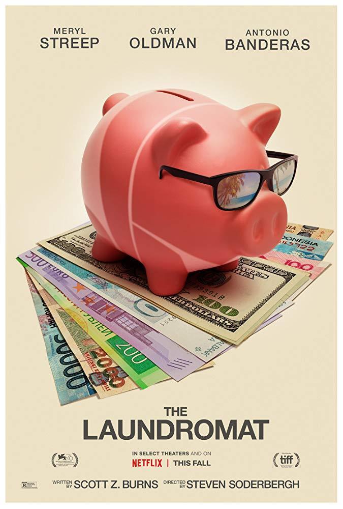 Un salvadanaio a forma di maialino su un letto di soldi nel poster ufficiale di Panama Papers (The Laundromat)
