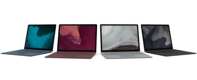 Le quattro colorazioni del Surface Laptop 2