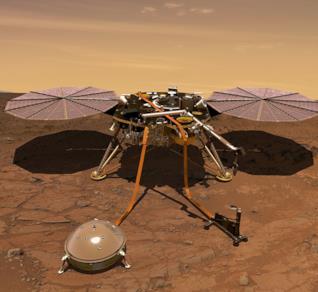 Una ricostruzione virtuale della sonda InSight