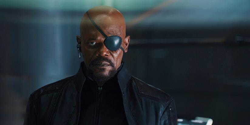 Primo piano di Nick Fury interpretato da Samuel Jackson