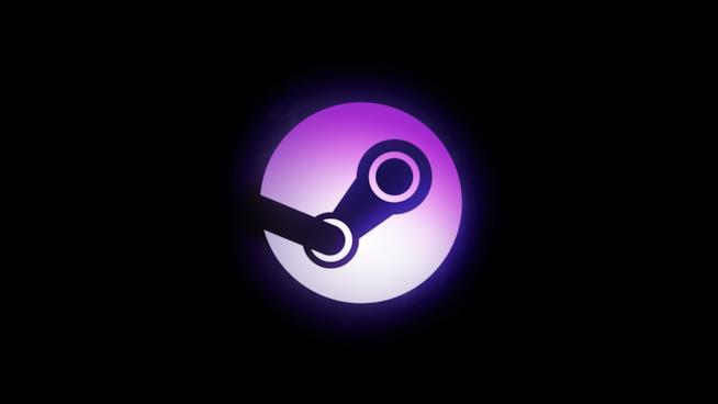 Il logo di Steam colorato di viola