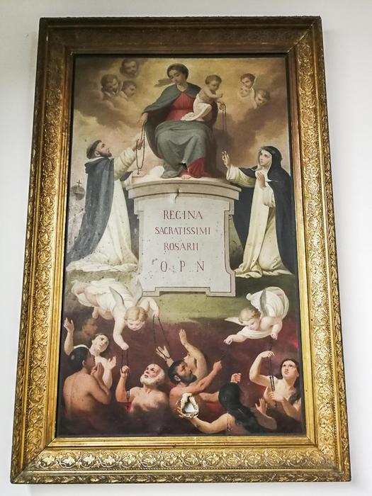 Il dipinto della Madonna del Rosario presente nella chiesa del Sacro Cuore del Suffraggio a Roma