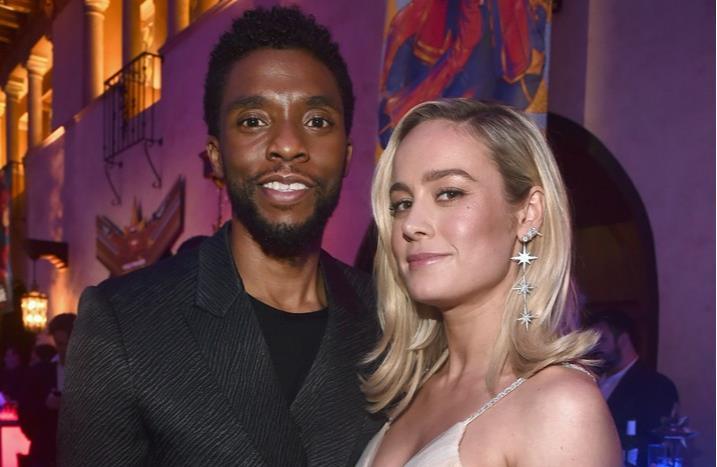 Chadwick Boseman e Brie Larson alla premiére di Captain Marvel