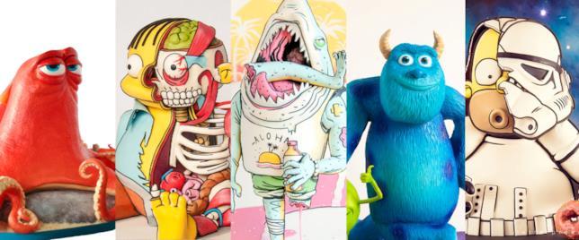 Hank di Alla Ricerca di Dory, Ralph, uno squalo, Sully di Monster Inc. e Stormtrooper Homer in formato torta