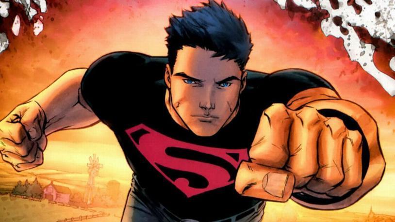 Mezzbusto di Superboy in una vignetta disegnata