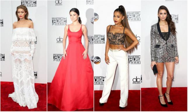 Gigi Hadid, Selena Gomez, Ariana Grande e Nina Dobrev, i look agli AMA's