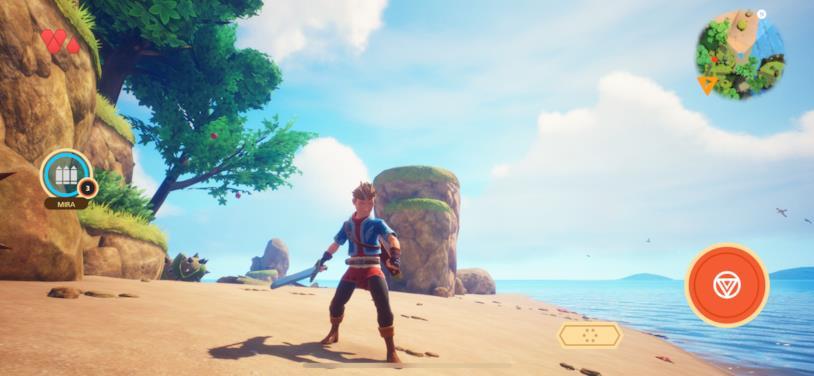 Screen di gioco di Oceanhorn 2 in esecuzione su iPhone X