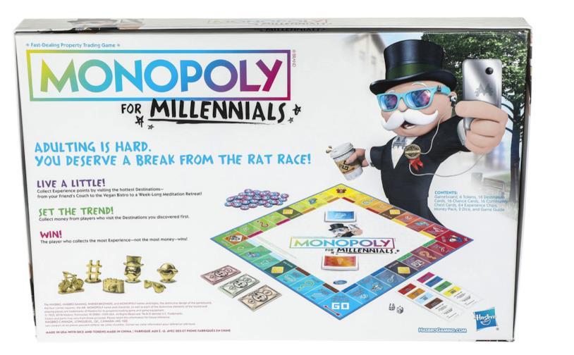 Il retro della scatola del nuovo Monopoly