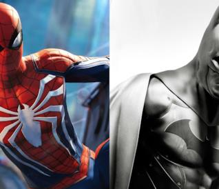 Batman e Spider-Man nei rispettivi videogame